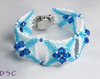Turquoise Blue and White Herringbone Stitched Bracelet, Beaded Cuff Style Seed Bead and Swarovski Crystal Bracelet