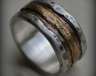 mens wedding band - rustic fine silver rose and yellow gold ring - handmade artisan designed wide band ring - manly ring - customized
