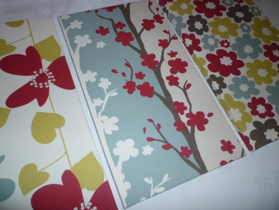Triptych Red Fabric Wall Art Blue Green Funky Retro By