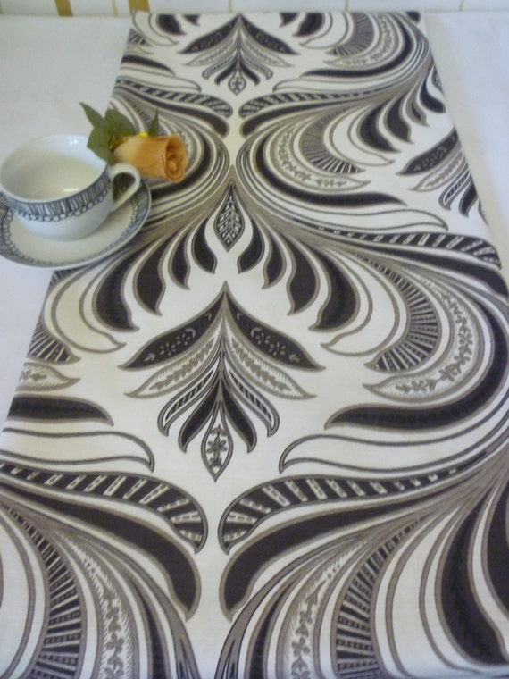 """Art Noveau Table Runner Brown Taupe Funky Retro Over 6ft (2mts long-78"""")"""