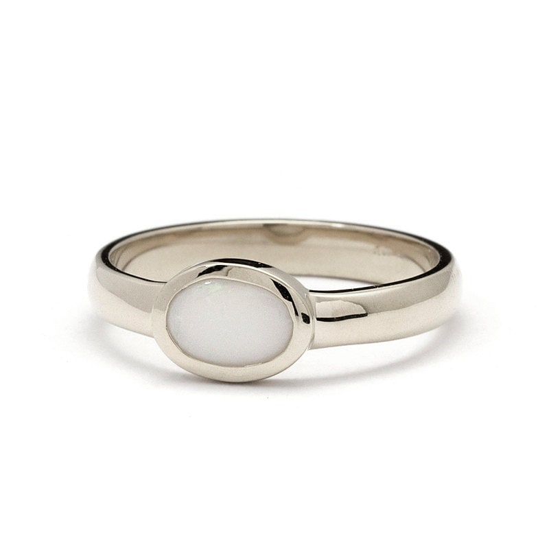 Smooth White Gold Natural White Opal Engagement Ring