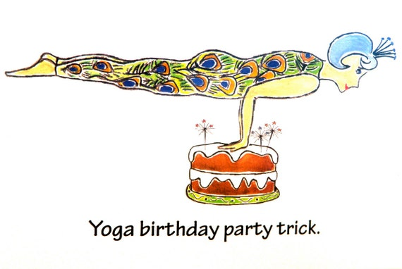 Yoga Birthday Card Say Happy Birthday with a smile Just – Birthday Card Trick