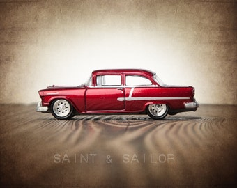 Vintage Candy Apple Red 55 Chevy, One Photo Print, Boys Room decor, Vintage Muscle Car Prints
