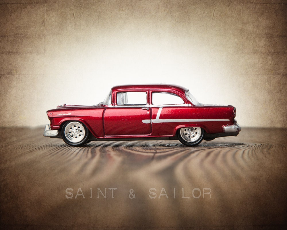vintage candy apple red 55 chevy one photo print by shawnstpeter. Black Bedroom Furniture Sets. Home Design Ideas