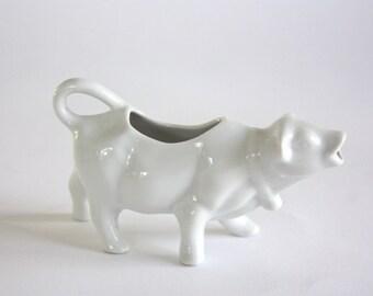 Vintage White Porcelain Cow Creamer