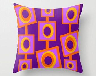 Purple Outdoor Pillow, Mod Outdoor Cushion, Modern Outdoor Pillow, Mid Century Modern Outdoor Pillow, Mod Pillow, Retro Outdoor Pillow