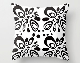 Throw Pillow Cover, Black & White Pillow Cover, Modern Pillow Cover, Geometric Throw Pillow Cover,  Mid Century Throw Pillow Cover