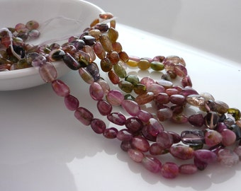 Pretty multi colored tourmaline nugget beads 4-8mm 1/2 strand
