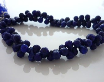 Pretty lapis lazuli faceted teardrop briolette beads 5-6mm set of 10