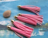 10pcs 85mm Gold cap--light  pink suede leather tassel findings pendants