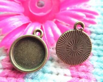 20pcs  14mm antiqued bronze round bezel pendant blanks(12mm inner size)
