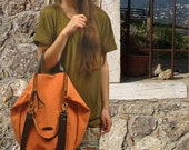 Stonewashed Canvas Bag ,shoulder bag ,Messenger, Handbag with leather details, in orange color, named Leta MADE TO ORDER