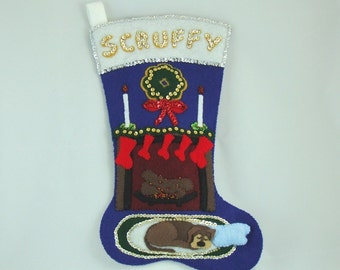 Sequined felt applique kit to make a dog Christmas stocking