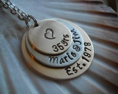 Anniversary Married Names Family Personalized Hammered Metal Layered Disc Necklace Key Chain Uniquely Impressed