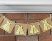 Girls Birthday Party Banner, Origami Dress Banner, Bridal Shower Decoration, Kraft Paper Dress Party Decor