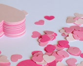 Pink Heart Confetti Party Package, Set of 350 Assorted Pink Paper Hearts, Wedding Decor, Party Decorations