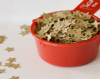 Kraft Star Confetti, 1/4 cup of Star Confetti, Table Decoration, Birthday Party Decor, 700 Star Die Cuts, Brown Stars