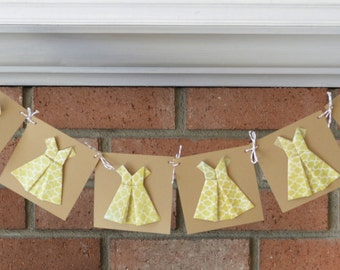 Girls Birthday Party Banner, Origami Dress Banner, Bridal Shower Decoration, Kraft Paper Dress Party Decor