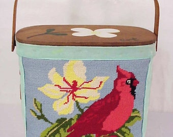 Vintage Cardinal/ Red Bird Needlepoint Box Purse