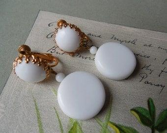 Signed MIRIAM HASKELL White Disk Dangle Earrings