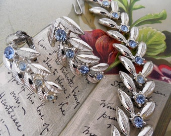CORO Silver & Blue Rhinestone Choker Necklace and Earrings Set