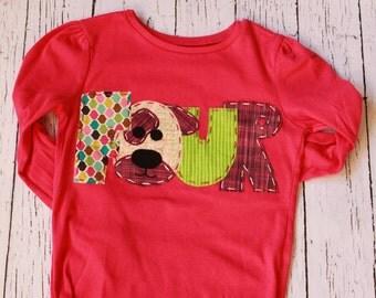 Puppy birthday shirt, 4th, four, dog t shirt, girl pink,