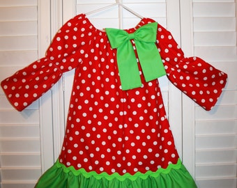 Red Polka Dots Peasant   Dress with lime ruffles and detachable bow . Size 6m- 8Y,.