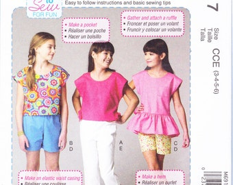 McCall's Sewing Pattern M6917 CCE Children's/Girls' Tops, Shorts and Pants New UNCUT