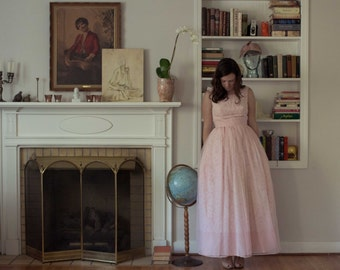 1960s pale pink maxi dress / vintage lace  and chiffon party prom gown / S
