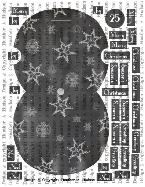 Chalk Board Art Christmas Pillow Box Tag Advent Count down calendar digital Collage Sheet Printable