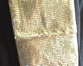 Vintage, Whiting and Davis, Gold, Mesh Chain Mail Mesh, Evening Bag, Made In USA