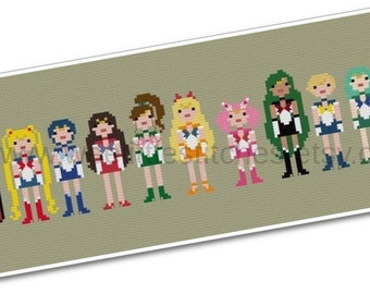 Sailor Moon - The Sailor Scouts - The *Original* Pixel People - PDF Cross-stitch PATTERN - Instant Download