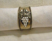 Luscious Autumn GRAPE CUFF BRACELET, White Half Pearl Cluster, Detailed Leaves, Rhinestones, Silver Metal, Cool Girly Gift, Boho Hippie Chic