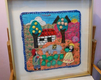 Peruvian ARPILLERA FOLK ART Textile Collage, Colorful Farmers Cabbage Harvest, Farm Trees Mountains, 3d Framed Ethnic Peru Handmade Tapestry