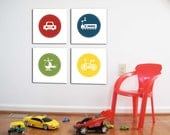 Transport Wall Art, Set of 4, Transport, Kids room or Nursery, 10X10 Each, Playroom decor, cars, bus, helicopter