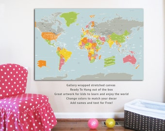 LARGE Canvas World Map, Playground World, 32X48, Travel Artwork, Travel gift, Farewell, Gift for home, Maps for kids