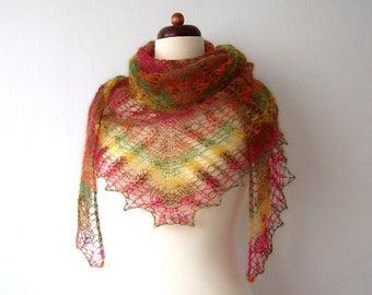 knit lace shawl, autumn colors, triangle scarf, mohair wrap