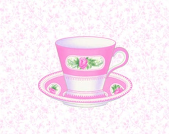 Sausalito Cottage - Pink Teacups by Holly Holderman for Lakehouse Drygoods