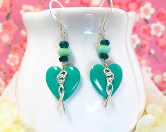 Teal cervical cancer survivor heart sterling silver earrings, teal green heart cancer earrings