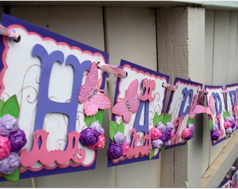 Happy Birthday Banner - Handmade Banner - Custom Made - GO GREEN Butterflies Banner