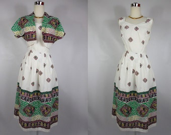1950's Vintage White and Green Patterned Day Dress with Bolero Jacket
