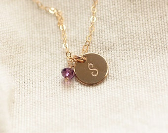 Tiny Gold Initial Necklace, Birthstone Necklace, Personalized Necklace, Hand Stamped, Initial Disc, Mother's Necklace, Gold Filled, Dainty