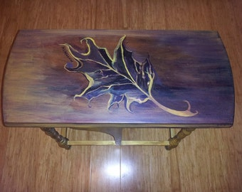 hand painted design on found furniture