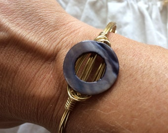 Blue Mother of Pearl Circle Bangle