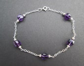 Amethyst faceted cubes bracelet- Preemie, alzheimers, lupus awareness