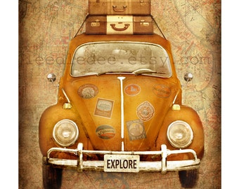 Travel Bug - Vintage Style Photo - Volkswagen Beetle Car Distressed Home Decor Adventure Travel Luggage Suitcase Explore Map Wall Art