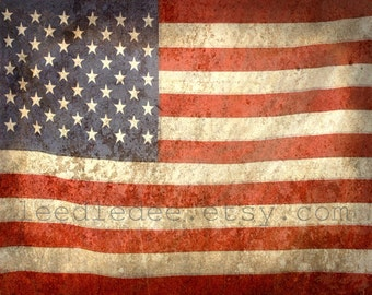 Grunge Flag Photo Print - USA America Proud to be American Patriotic Stars n Stripes