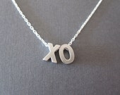 Two Silver Block Letter Initial Necklace