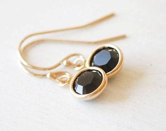 Jet Black Crystal Dangle Earrings - On 14K gold filled hooks - simple black everyday wedding jewelry