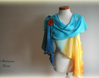 Summer  Scarf LINEN Shawl Azure Yellow Whit Leather Brooch Linen Knittyd Hand Dyed Eco Friendly Clothing